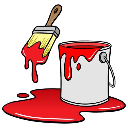 paint can: Paintbrush and Bucket Illustration