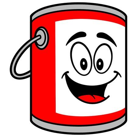 paint bucket: Paint Bucket Mascot Illustration