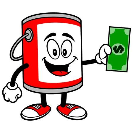 bucket of money: Paint Bucket with a Dollar Illustration