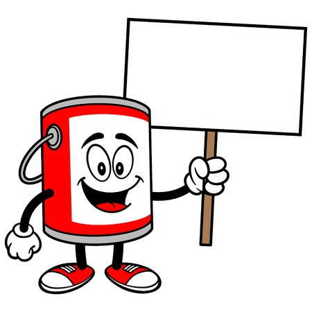 paint bucket: Paint Bucket with a Sign Illustration