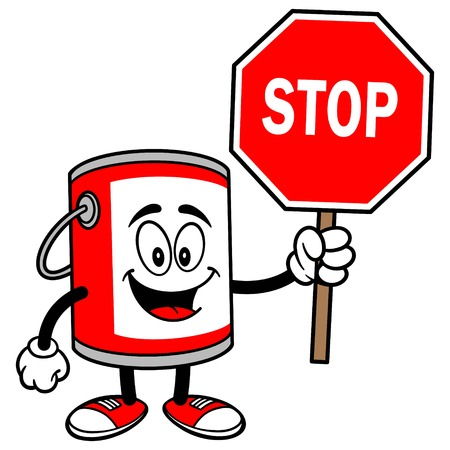 paint bucket: Paint Bucket with a Stop Sign