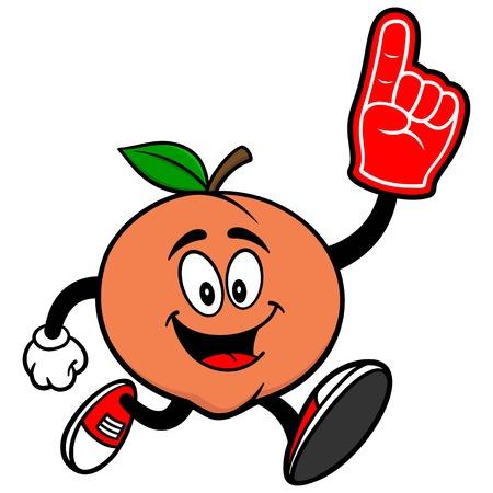 Peach Running with Foam Finger