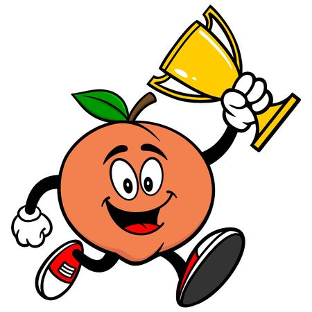 market place: Peach Running with Trophy Illustration