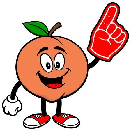 foam finger: Peach with Foam Finger Illustration