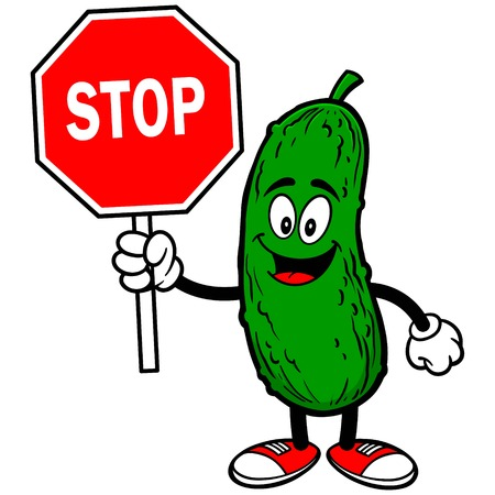 Pickle with Stop Sign Illustration