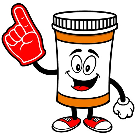 foam: Pill Bottle with Foam Finger Illustration