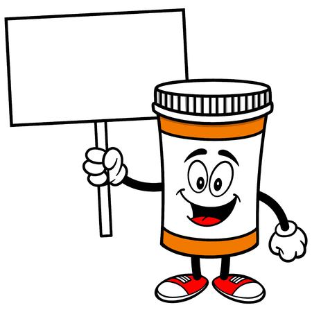 Pill Bottle with Sign Illustration