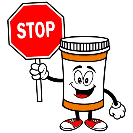 pill bottle: Pill Bottle with Stop Sign