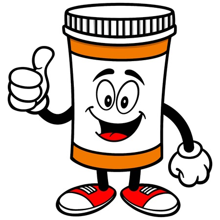 Pill Bottle with Thumbs Up Illustration