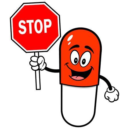 Mascotte pillola con stop Vettoriali