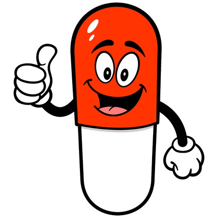 Pill Mascot with Thumbs Up