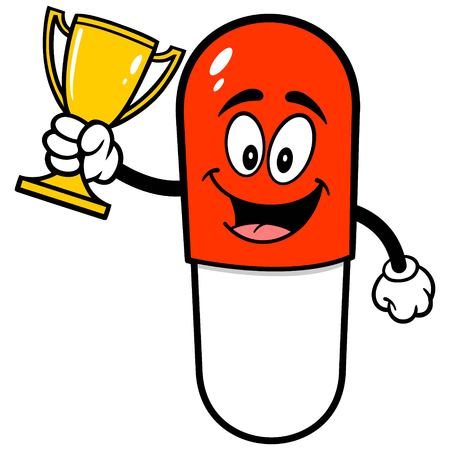 Pill Mascot with Trophy