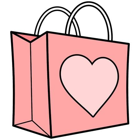 하트 핑크 쇼핑백