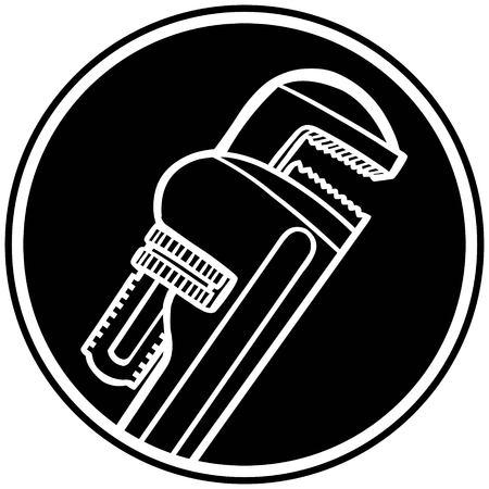 adjustable: Pipe Wrench Symbol Illustration