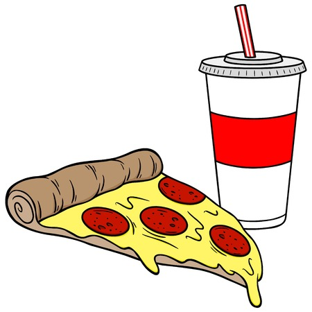 poor diet: Pizza and a Drink