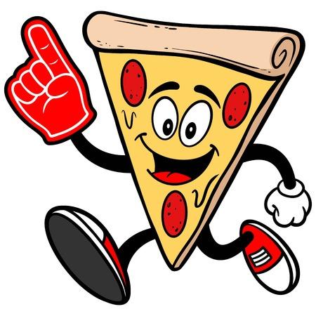 foam finger: Pizza Running with Foam Finger Illustration