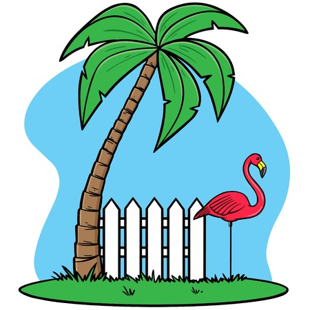 Plastic Flamingo with Palm