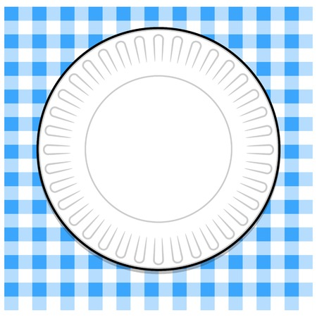 Paper Plate with Blue Tablecloth