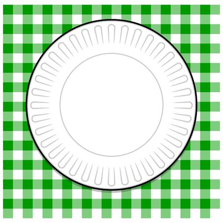 Paper Plate with Green Tablecloth Ilustrace