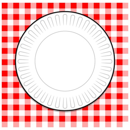 a tablecloth: Paper Plate with Red Tablecloth