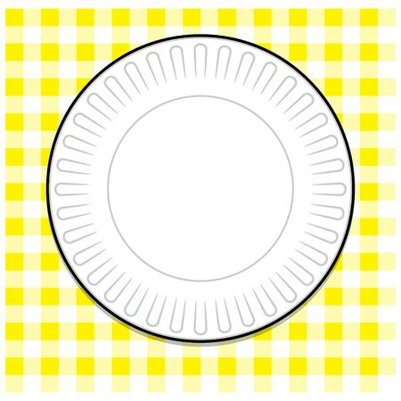 a tablecloth: Paper Plate with Yellow Tablecloth