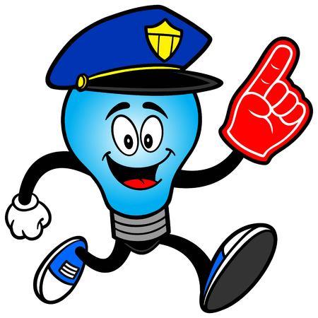 foam finger: Police Bulb Running with a Foam Finger Illustration