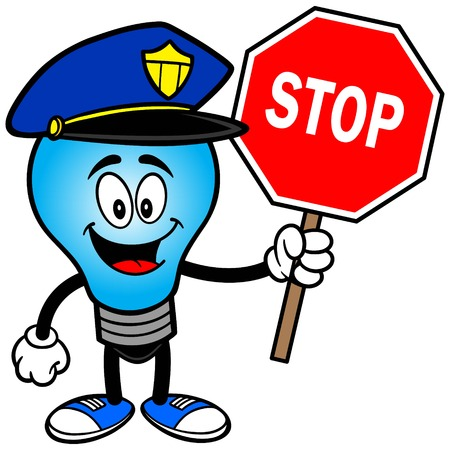 Police Bulb with a Stop Sign
