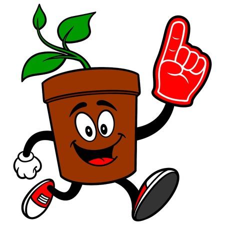 foam finger: Potted Plant Running with Foam Finger Illustration