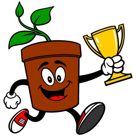 potted plant: Potted Plant Running with Trophy