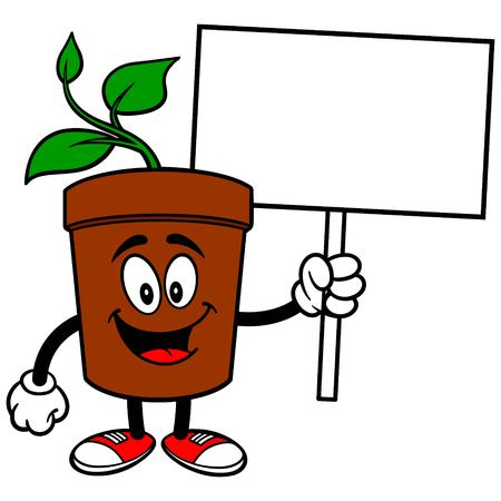 potted plant: Potted Plant with Sign
