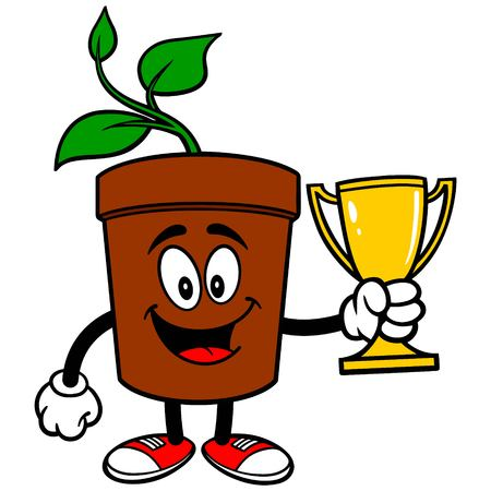 potted plant: Potted Plant with Trophy