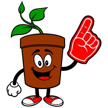 potted plant: Potted Plant with Foam Finger Illustration