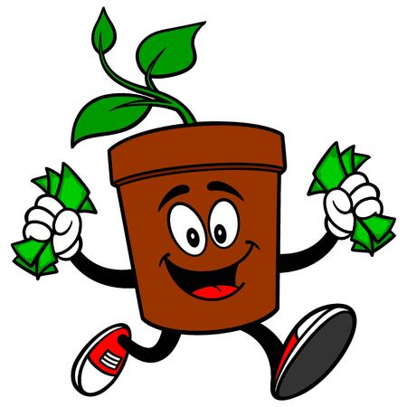 potted plant: Potted Plant with Money