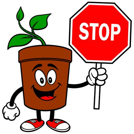 Potted Plant with Stop Sign Иллюстрация