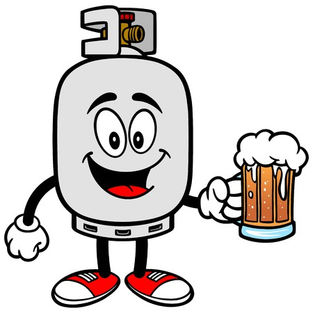 Propane Tank with a Beer Illustration