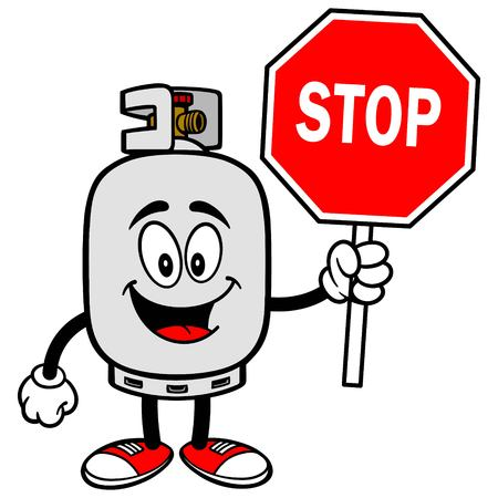 propane tank: Propane Tank with a Stop Sign Illustration
