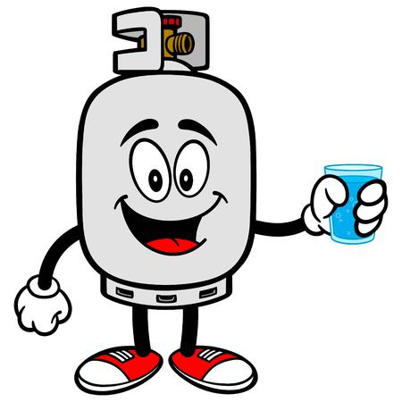 Propane Tank with a cup of Water Illustration