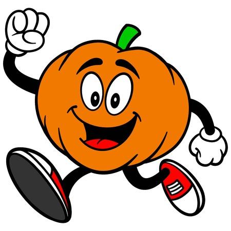 Pumpkin Mascot Running Иллюстрация