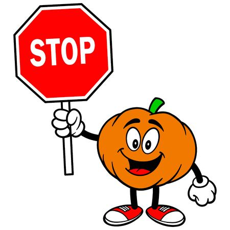 Pumpkin Mascot with Stop Sign Vectores