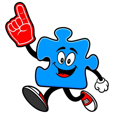 Puzzle Running with Foam Finger
