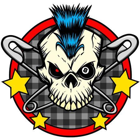 rockabilly: Punk Skull Illustration