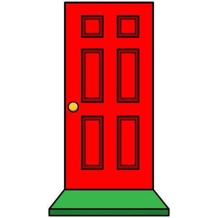 ドアのマットに赤いドア  イラスト・ベクター素材