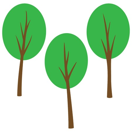 Retro Trees Cartoon Banque d'images - 57874877