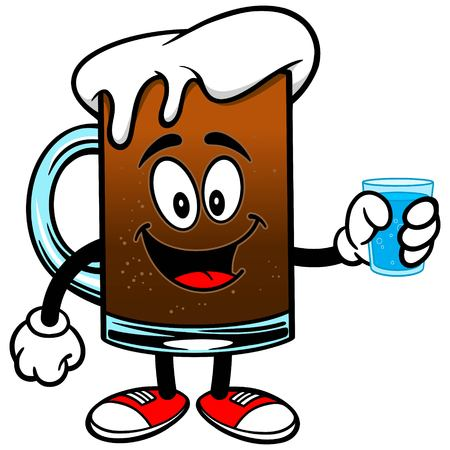 root beer: Root Beer with a cup of Water Illustration