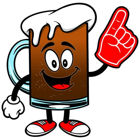 root beer: Root Beer with a Foam Finger Illustration