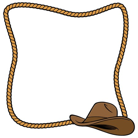 Rope Frame and Cowboy Hat  イラスト・ベクター素材