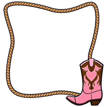 Seilfeld und Cowgirl-Stiefel Standard-Bild - 57875032