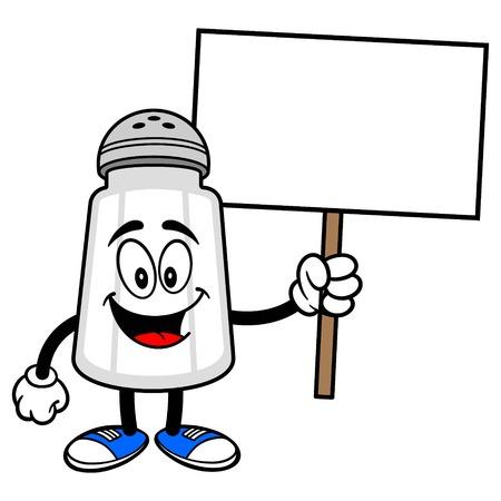salt shaker: Salt Shaker with a Sign Illustration