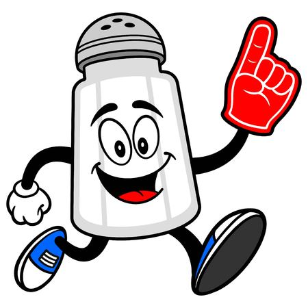 Salt Shaker Running with a Foam Finger Ilustrace