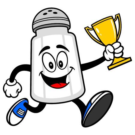 salt shaker: Salt Shaker Running with a Trophy Illustration